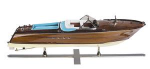 maquette de bateau, voilier, runabout Runabout Lago di Como, cuir bleu - 67 cm Authentic Models -AM- Quirao idées cadeaux