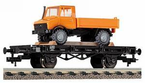train miniature Wagon plat + unimog  (H0) 5218 Fleischmann Quirao idées cadeaux